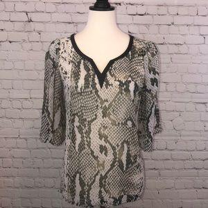 Sheer snakeskin flowy blouse